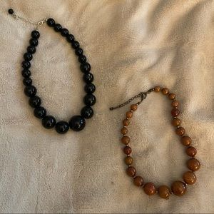 Set of Brown & Black beaded necklaces